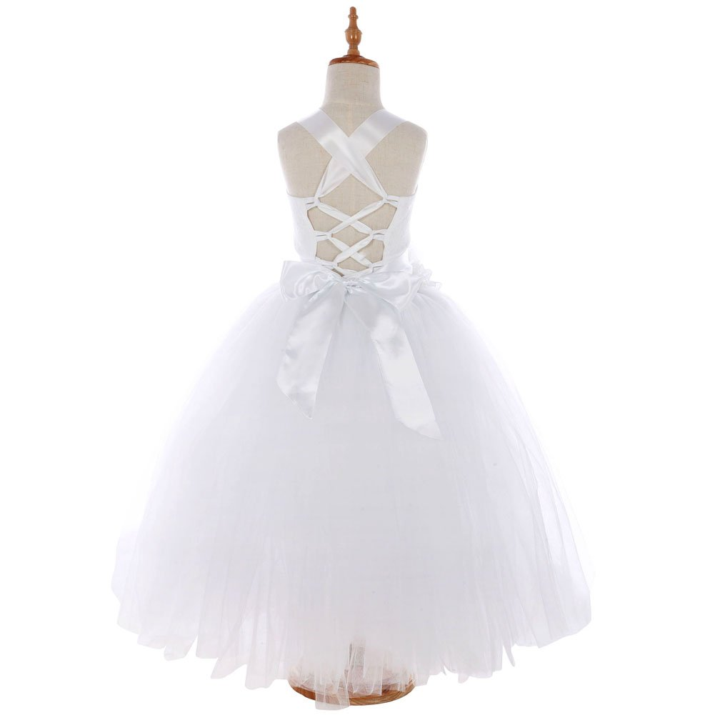 FAYBOX Pageant Wedding Flower Girl Dress Crossed Back Bow Feather Sash Fluffy White 2 by FAYBOX (Image #3)