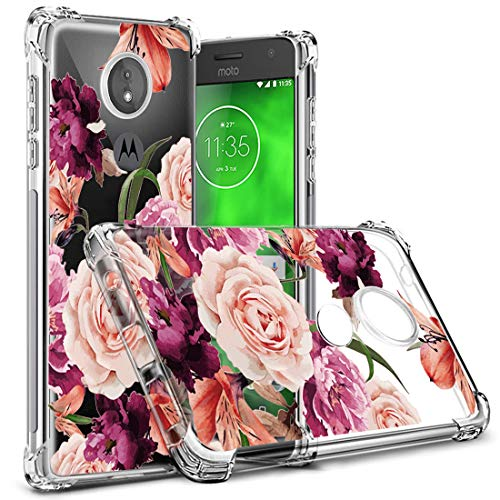 Osophter Compatiable with Moto G7,Moto G7 Flower Case XT1962 Shock-Absorption Flexible TPU Rubber Soft Pattern Print Cover for Motorola Moto G7 Plus/XT1965(Clear Flower)