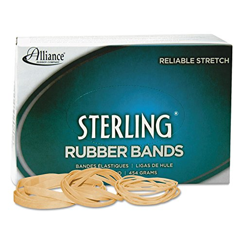 Alliance Rubber 24305 Sterling Rubber Bands Size #30, 1 lb Box Contains Approx. 1500 Bands (2 x 1/8, Natural Crepe)