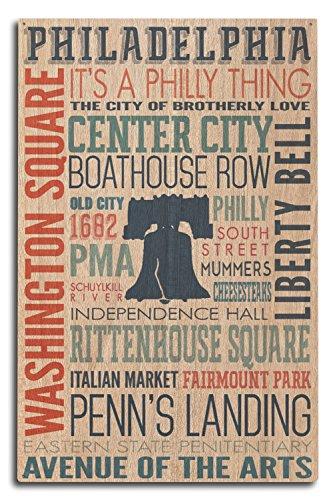 Lantern Press Philadelphia, Pennsylvania - Typography (10x15 Wood Wall Sign, Wall Decor Ready to Hang)
