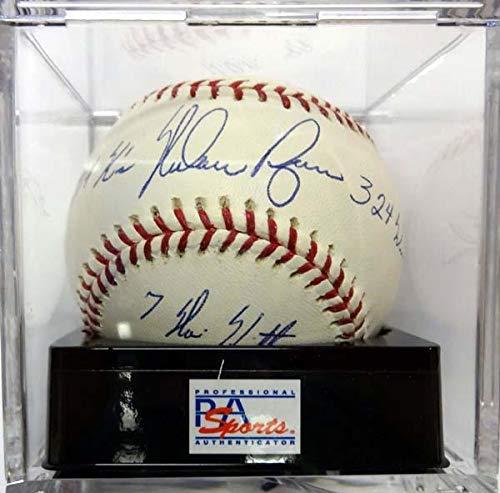 Ball Ryan Nolan (Signed Nolan Ryan Ball - Rangers 4 Stats Gem Mint 10#D52155 - PSA/DNA Certified - Autographed Baseballs)