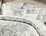 Nicole Miller Bedding 3 Piece Full / Queen Duvet Cover Set Gray Floral Geometric Pattern on a White Background