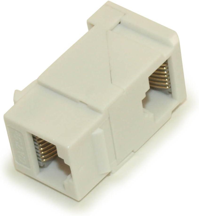 6 Pcs Cat5E RJ45 Network Ethernet Right Angle UTP Keystone Jack Coupler White