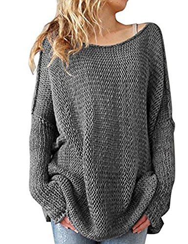 Shermie Women Oversized Knitted Sweater Long Sleeve Crew neck Loose Top Casual Pullovers Gray - Women Oversize