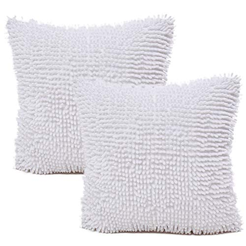 JOTOM Deluxe Fashion Chenille Throw Pillow Cover Cases Decorative Cushion Cover for Sofa Car Bedroom Home Decor Couch 18 x 18 Inches,Set of 2 (White)
