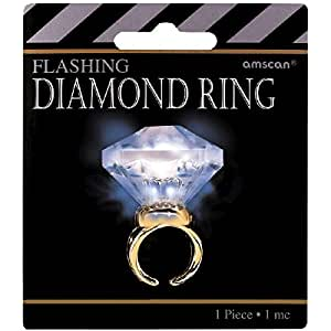 Amscan Glamorous 20's Old Hollywood Themed Party Light-Up Diamond Bling Ring (1 Piece), White/Gold, 4.2 x 3.8""