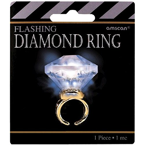 Amscan Glamorous 20s Old Hollywood Themed Party Light-Up Diamond Bling Ring (1 Piece) WhiteGold 4.2 x 3.8
