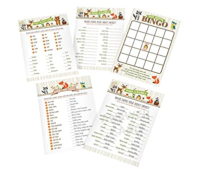 "Lillian Rose Woodland Baby Shower Game Cards, Neutral, 5"" x 7"""