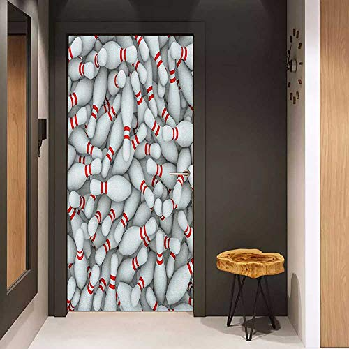 Onefzc Automatic Door Sticker Bowling Party Pile of Vivid Bowling Pins and Skittles with Red Stripes 3D Style Print Easy-to-Clean, Durable W23.6 x H78.7 Red and White
