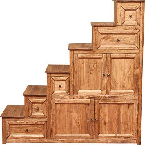 Biscottini - Mueble cajonera con escalera Country de madera maciza de tilo, acabado natural, 140 x 42 x 142 cm: Amazon.es: Hogar