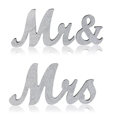 Senove Mr and Mrs Sign Wedding Sweetheart Table Decorations,Mr and Mrs Letters (Hearts Table Sign)