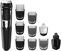 Philips Multigroom Series 3000 Cordless with 10 Trimming Accessories, Lithium-Ion and Storage Bag, MG3750/10