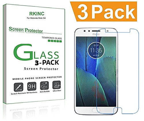 for Motorola Moto G5S Plus Screen Protector, [3 Pack] RKINC Tempered Glass Screen Protector for Motorola Moto G5S Plus with [9H Hardness] [Crystal Clear] [Scratch Resist]