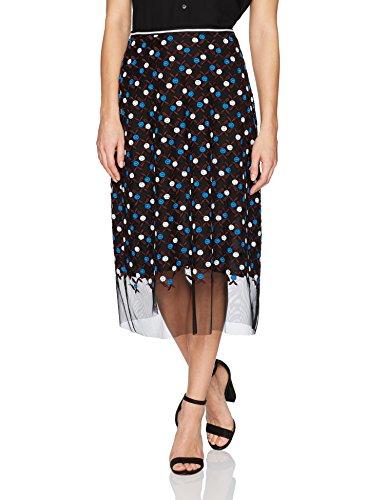 Cynthia Rowley Women's Dot Embroidered Mesh Skirt, Blue/White, 10