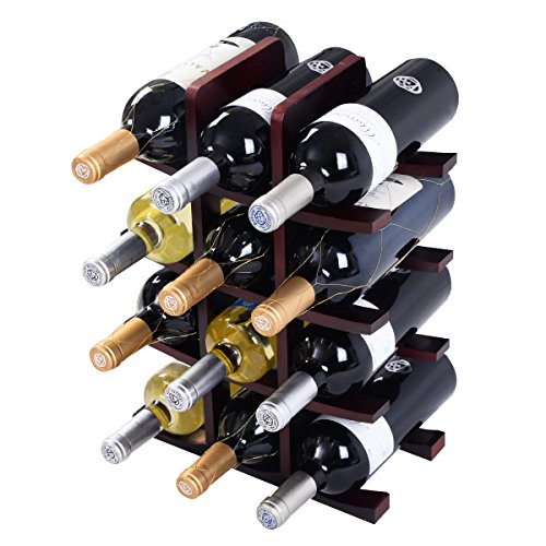 12 Bottle Wood Wine Rack Bottle Holder Storage Bar Kitchen Burgundy NEW