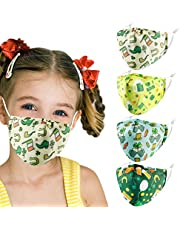 Kids Reusable Washable Breathable Face Mask with Adjustable Earloops for Boys Girls Children Gift, Cute Designer Madks Facemask Fabric Covering