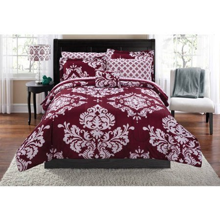 Mainstay* Classic Noir Bed In A Bag Bedding Set in Burgundy, Full