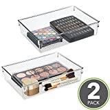 mDesign Bathroom Vanity Storage Tray for Cosmetics, Palettes, Brushes - Pack of 2, Clear