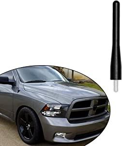 "Direct Replacement fits 2009-2019 Dodge RAM 1500 Truck Black Short Screw Thread Performance 3.6"" Antenna Mast Whip"