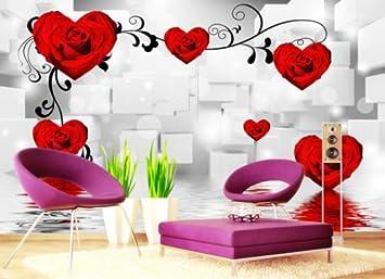 Vlies - Papel pintado fotográfico 3d Corazón Rose en forma de KN ...