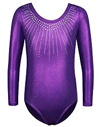 Sleeved Purple Sleeveless Dance Outfit With Rhinestones