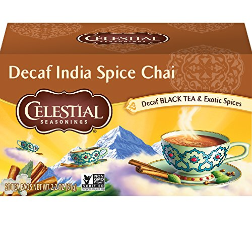 - Celestial Seasonings Chai Tea, Decaf India Spice, 20 Count (Pack of 6)