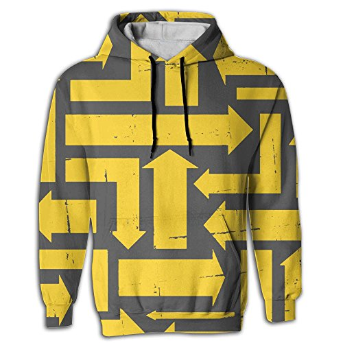 Yellow Arrows Pattern Young Men College Fashion Hoodie