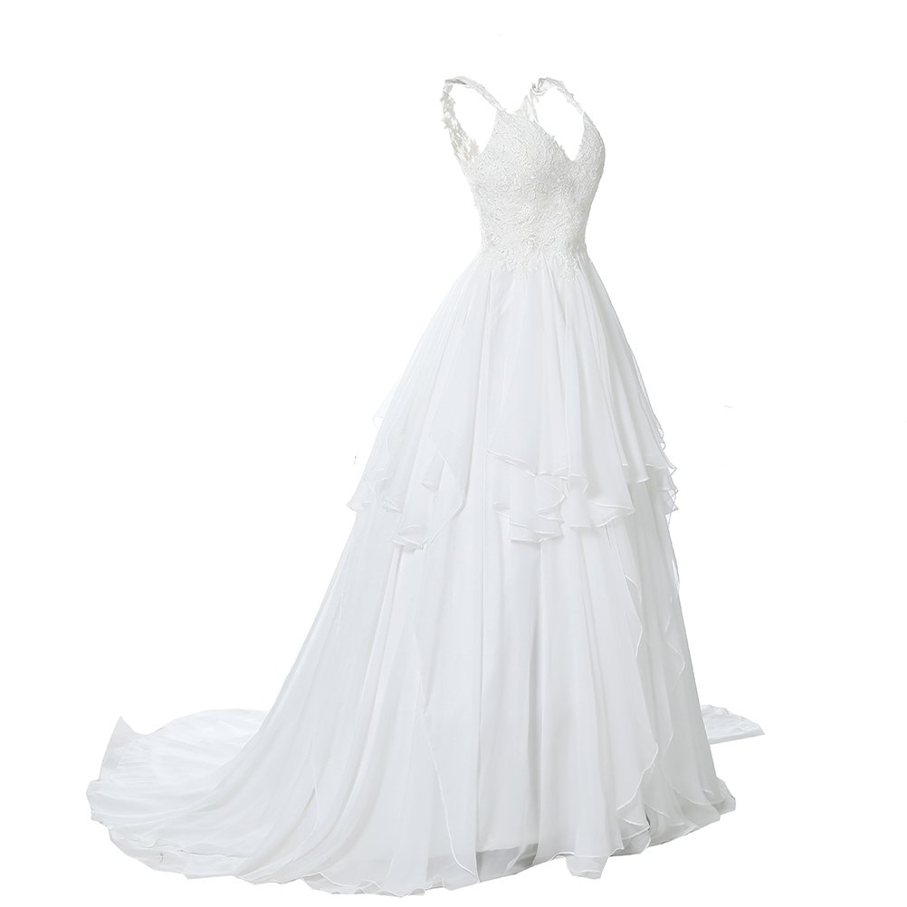 0a76551aa1b5 Kevins Bridal Lace V Neck Wedding Dress Illusion Chiffon Beach Wedding Gown  Straps at Amazon Women's Clothing store: