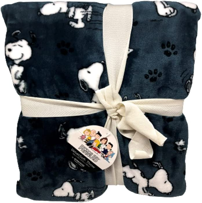 Berkshire Home & Blanket Co. Peanuts Gang Snoopy Happy Dance Velvet Soft Throw Blanket | 50