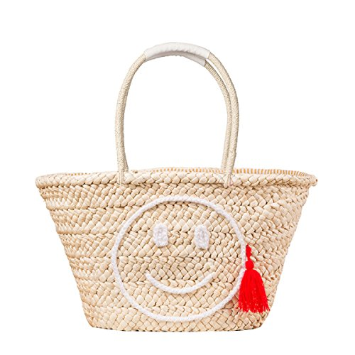 Women New Korea Simple Fashion Straw Bag Smiling Face Woven Bag Tassels Casual Beach Bag,B-OneSize