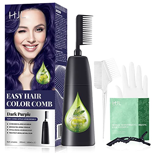 HJL Dark Purple Hair Dye Permanent Hair Color Ammonia Free with Comb Applicator Easy Use Hair Coloring Cream Kit