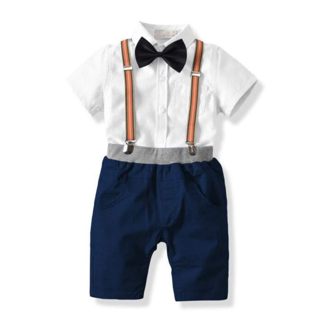 Baby Boy Special Occasion Smart Formal 4 Piece Short Set Embroidered Shirt