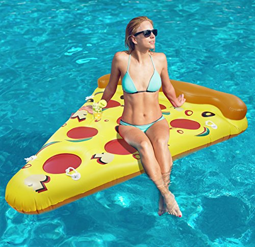 Price comparison product image Greenco Giant Inflatable Pizza Pool Float Lounger With Connectors 6 x 5 Feet