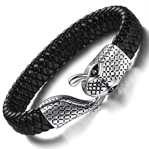 Ostan - Men's Jewelry Gothic 316L Stainless Steel and Black Leather Rope Men's Cuff Bracelet Bangle - Black