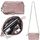 Women's Smartphone Soft Leather Wristlet Purse/Clutch Wallet/Crossbody Bag with Crossbody Strap&Wrist Strap (Baby Pink)