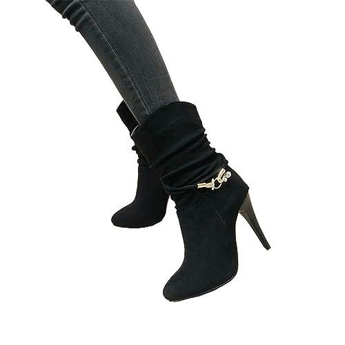 Shirloy Botas para Mujer Zapatos tacón Alto Aguja para Mujer En el ...