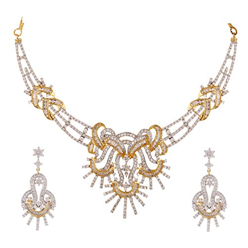 Swasti Jewels American Diamond AAA CZ Zircon Fashion Jewelry Set Necklace Earrings for Women by Swasti Jewels