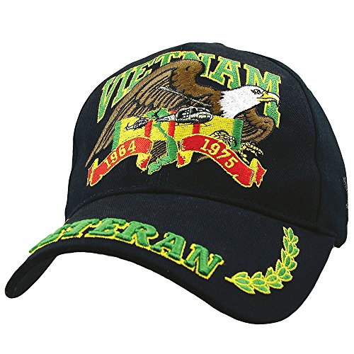 (Vietnam Veteran Eagle Low Profile Cap, Black, Adjustable)