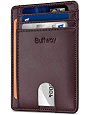 Buffway Slim Minimalist Front Pocket RFID Blocking Leather Wallets for Men Women - Sand Chocolate