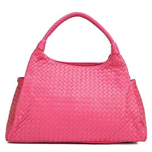 Women's Woven Shoulder Sheepskin New Bags Otomoll Arrival Bag Rose Handbags Faux Tote Handmade Premium Red Leather xX1UtYAqn