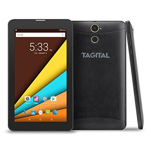 Tagital 7'' Quad Core 3G Phablet, Android Phone Tablet, Android 6.0, 1024 x 600 IPS Screen, Dual Camera, Unlocked GSM w/Dual Sim Card Slot, 2G/3G Phablet by Tagital