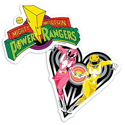 Power Rangers Pink & Yellow Rangers and Logo Collectible Stickers