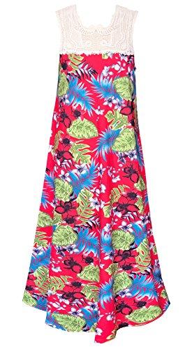 Smukke, Big Girls Tween Vintage Crochet Lace Geo Print Maxi Dresses (Many Options), 7-16 (Red Multi, 14) -
