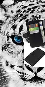 LECELL--Cuero de la tarjeta la carpeta del tirón Smartphone Slots Protección Holder For Sony Xperia Z2 D6502 -- Leopardo de nieve --
