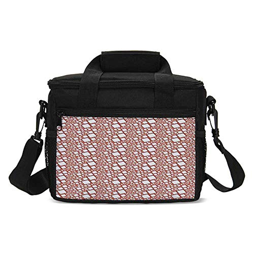 Abstract Lightweight Lunch Bag,Ornamental Squares with Oval Corners in Various Shapes Geometric Pattern for Daily Use,One size