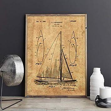 NOVELOVE Imagen de Arte de Pared Barco de Vela Blueprint Sailing Artwork Sailboat Cartel HD Impresión Lienzo Pintura Regalo Sin Marco 50 * 70cm