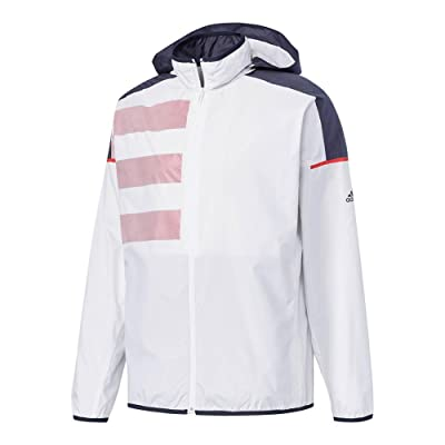 adidas Men`s Club Mesh Tennis Jacket White and Scarlet-(BS0153-F17)