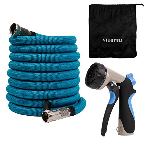 Vitovill Expandable Garden Hose, 50ft Heavy Duty Water Hose, Brass Chrome Plating Fittings, Double Latex Core, Strong Fabric - Flexible Durable Expanding Hose with 8 Function Spray Nozzle Blue