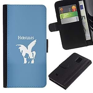 JackGot ( Hércules Caballo ) Samsung Galaxy Note 4 IV la tarjeta de Crédito Slots PU Funda de cuero Monedero caso cubierta de piel