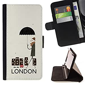 Dragon Case- Caja de la carpeta del caso en folio de cuero del tirš®n de la cubierta protectora Shell FOR Sony Xperia Z3 D6653- London City Love it United Kingdom